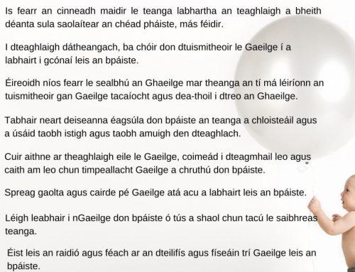 Ag tógáil páistí le Gaeilge – Moltaí do Thuismitheoirí